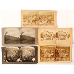 Six Different Leadville, Colorado Stereoviews incl. Silver Bullion Bars
