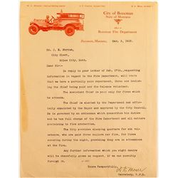 Bozeman, Montana Fire Dept Letter With Illustration