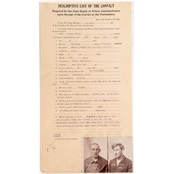 1912 Description of Murderer for Deer Lodge Prison