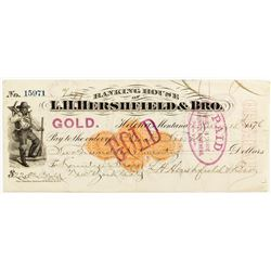 1876 Hershfield Revenue Check Paid in Gold