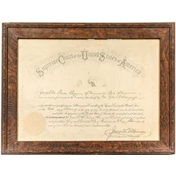 Framed United States Supreme Court Appointment for Joseph Dixon of Missoula