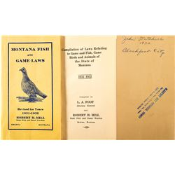 Montana Fish And Game Laws Booklet, 1931-1932