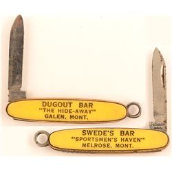 Ultra Cute Montana Two Town Celluloid Advertising Pocketknife