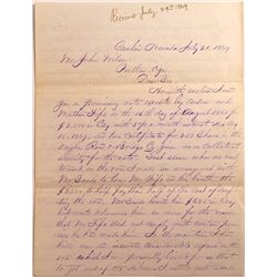 Carlin, NV. Letter- July 1869- Note Secured by Owyhee Road & Bridge Stock