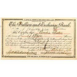 Bullion and Exchange Bank Certificate signed by Klein
