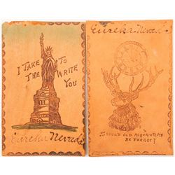 Two Thicker Eureka, Nevada Leather Postcards