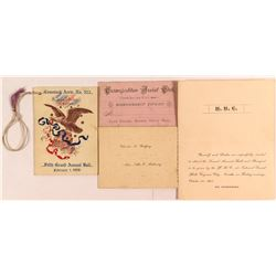 Comstock Fraternal Social Invitations (Virginia City, Nevada)