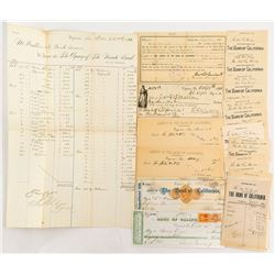 Bank of California, Virginia City, Checks & Coin Slips, incl Mackay Autograph & Bank Statement