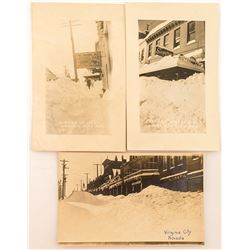 Three Snowy Virginia City Real Photo Postcards