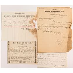 Virginia City & Gold Hill, Nevada Ephemera: Baptism Certificate, Assay, Sheriff Letter