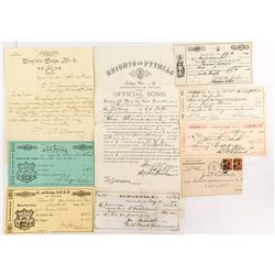 Virginia City, Nevada Fraternal Ephemera (Letter, Bond, Warrants)