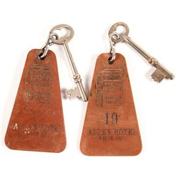 2 Leather Allen Hotel Key Fobs