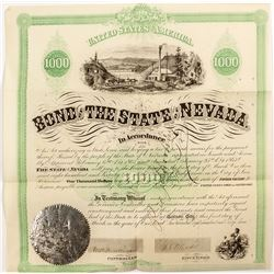1867 Bond of the State of Nevada signed by Governor Blasdell