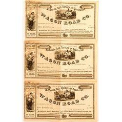 3 Wagon Road Co. Unissued Stock Certificates