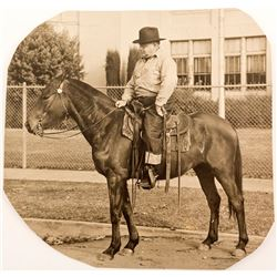1932 Photo of Union Stock Yards President on Horse