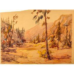 Carl Walline Original Western Watercolor