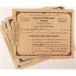 4 Superior and Globe Copper Company Stock Certificates