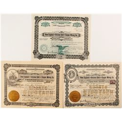 New England and Arizona Gold and Copper Mining Co. Stock Certificates (3)