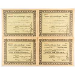 Calumet and Jerome Copper Company Stock Certificates (4)