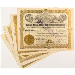 Telluride Mining, Milling and Development Company Certificates (5)