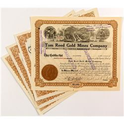 Tom Reed Gold Mines Stock Certificates (4)
