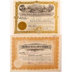 Two Different Oatman Mine Stock Certificates