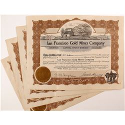 4 San Francisco Gold Mines Company Stock Certificates