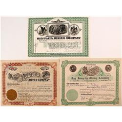 Trio of Different Arizona Mining Stock Certificates