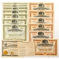 Arizona Mining Stock Certificates and 7 Comparison Sale Tickets