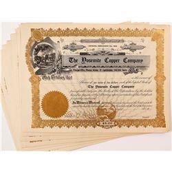 Yosemite Copper Company Stock Certificates