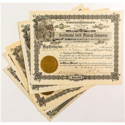 Eight California Gold Mining Stock Certificates