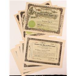 Ten Death Valley Mining Stock Certificates