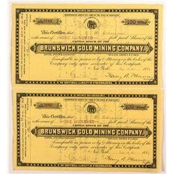 Pair of Brunswick Gold Mining Company Stock Certificates