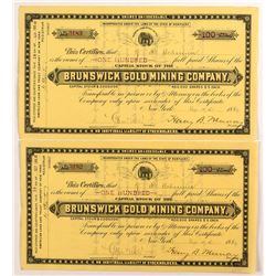 Pair of Brunswick Gold Mining Company Stock Certificates
