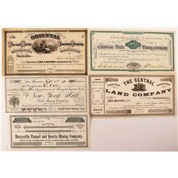 Five Different California Mining Stock Certificates