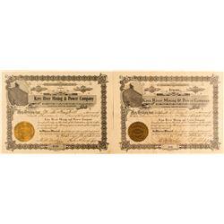 2 Kern River Mining & Power Company Stock Certificates