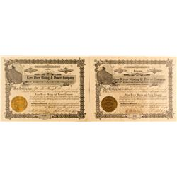 2 Kern River Mining & Power Company Stock Certificates