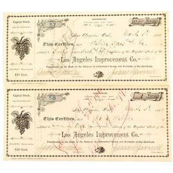 Los Angeles Improvement Co. Stock Certificates (2)