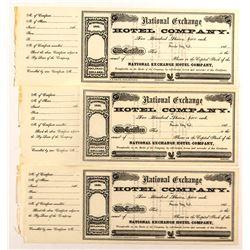 Three National Exchange Hotel Company Stock Certificates