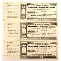 Three National Exchange Hotel Company Stock Certificates