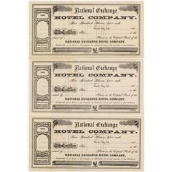 National Exchange Hotel Company Stock Certificates (3)