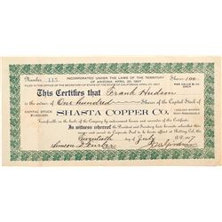 Shasta Copper Co. Stock Certificate