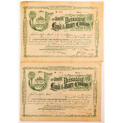 South Riverside Land & Water Company Stock Certificates (2)