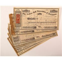Odd Fellows Hall Association of Sacramento Stock Certificates (8)