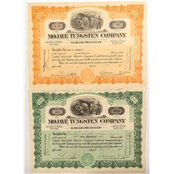 Two Mojave Tungsten Company Stock Certificates