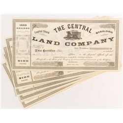 The Central Land Company Stock Certificates (6)
