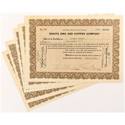 Shasta Zinc and Copper Company Stock Certificates (6)
