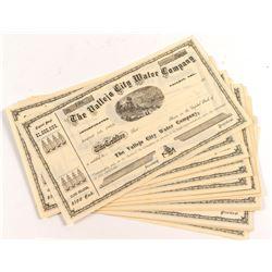 Vallejo City Water Company Stock Certificates (38) c.1870s