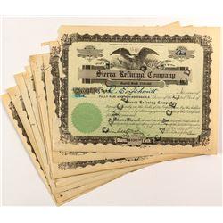 Sierra Refining Company Stock Certificates (10)