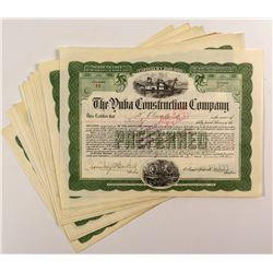 Yuba Construction Company Stock Certificates (20)